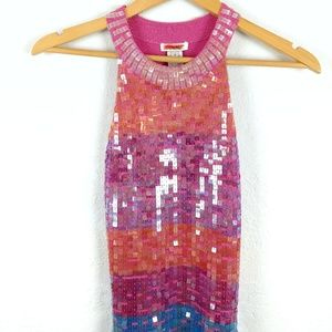 Cache Sequin Pink Rainbow Striped Glitter Tank Top